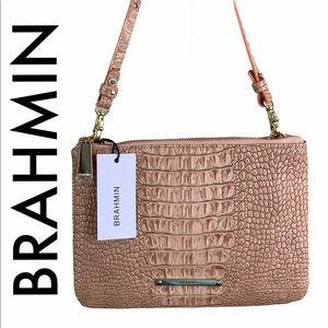 BRAHMIN NWT CORAL TAN LEATHER CROSSBODY BAG